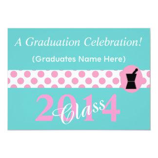 Pharmacist Graduation Invitations Pink and Blue