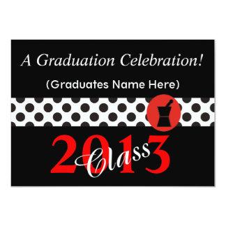 Pharmacist Graduation Invitations Red and Black II
