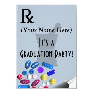 "Pharmacist Graduation Invitations Rx Pad Design 5"" X 7"" Invitation Card"