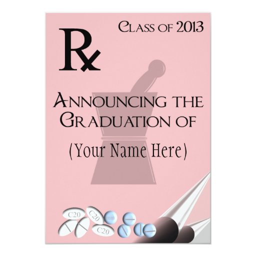Pharmacist Graduation Invitations Rx Pad Design II