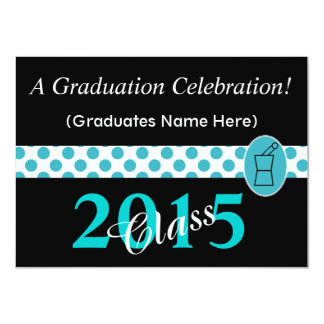 """Pharmacist Graduation Invitations Teal and Black I 4.5"""" X 6.25"""" Invitation Card"""