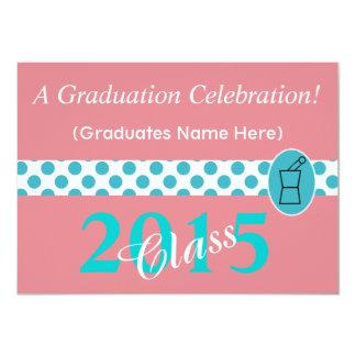 "Pharmacist Graduation Invitations Teal and Pink 4.5"" X 6.25"" Invitation Card"