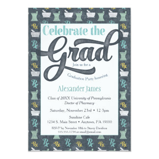 Pharmacist Graduation Party Invitation Gray Aqua