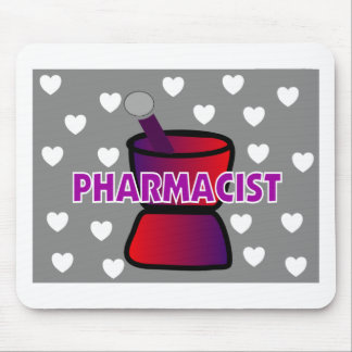 PHARMACIST GREY WHITE HEARTS MOUSE PAD