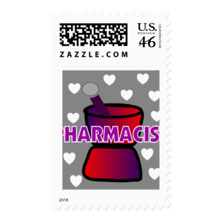 PHARMACIST GREY WHITE HEARTS POSTAGE STAMPS