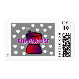 PHARMACIST GREY WHITE HEARTS POSTAGE STAMP
