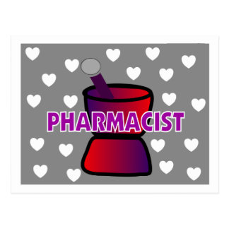 PHARMACIST GREY WHITE HEARTS POSTCARD