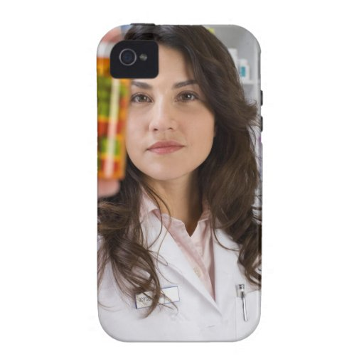 Pharmacist holding a pill bottle vibe iPhone 4 cases