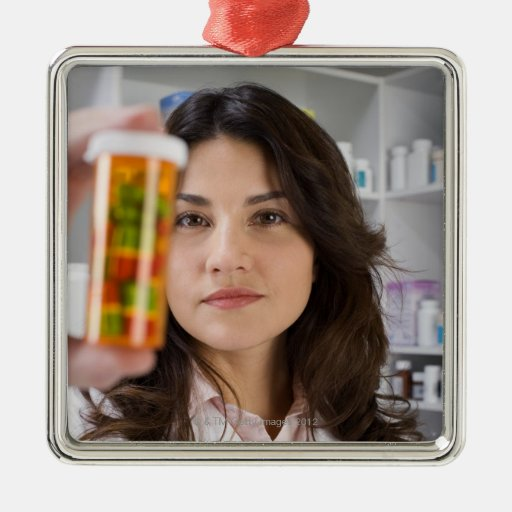 Pharmacist holding a pill bottle square metal christmas ornament