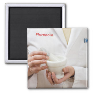 Pharmacist holding mortar and pestle 2 inch square magnet