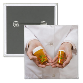 Pharmacist holding pill bottles pinback button