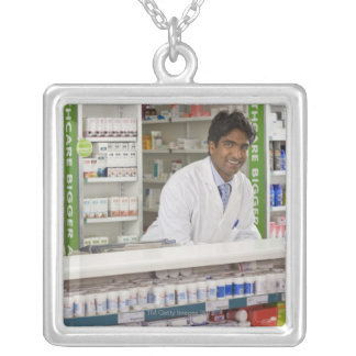 Pharmacist in a pharmacy square pendant necklace