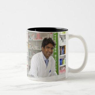 Pharmacist in a pharmacy Two-Tone coffee mug