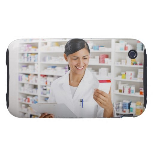 Pharmacist in drug store holding clipboard iPhone 3 tough cover