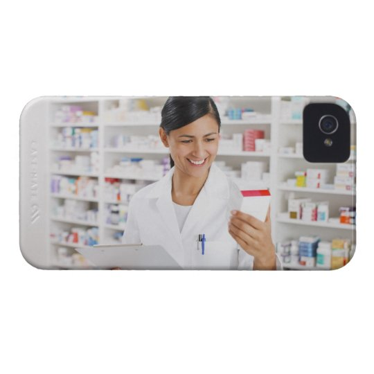 Pharmacist in drug store holding clipboard iPhone 4 case