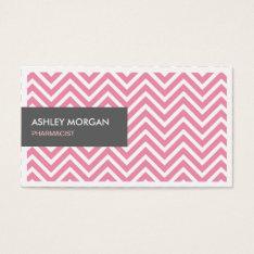 Pharmacist - Light Pink Chevron Zigzag Business Card at Zazzle
