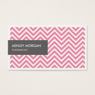 Pharmacist - Light Pink Chevron Zigzag Business Card