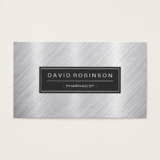 Pharmacist - Modern Brushed Metal Look Business Card at Zazzle