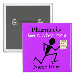 Pharmacist Name Pins Badge Purple