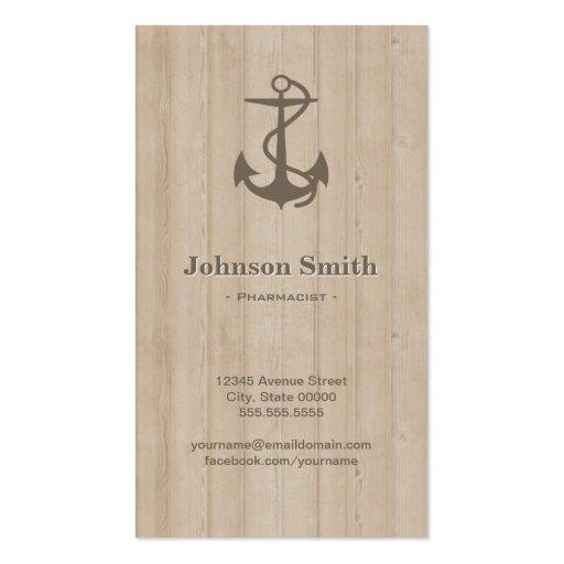 Pharmacist - Nautical Anchor Wood Business Card