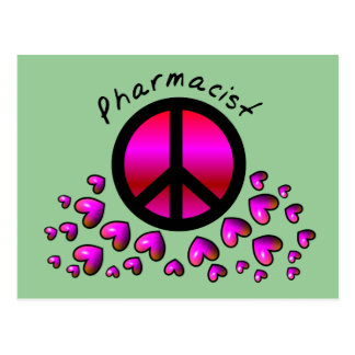 Pharmacist Peace Hearts Design Gifts Post Cards