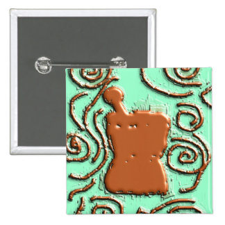 PHARMACIST Pestle & Mortar Design Gifts 2 Inch Square Button