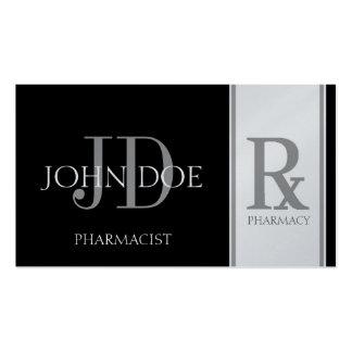 Pharmacist Prescription Pharmacy Black/Platinum Double-Sided Standard Business Cards (Pack Of 100)