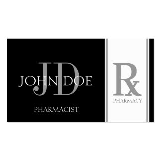 Pharmacist/Prescription Pharmacy Black/Silver Double-Sided Standard Business Cards (Pack Of 100)