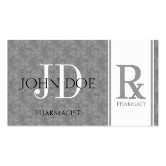 Pharmacist/Prescription Pharmacy Blue Grey Marble Double-Sided Standard Business Cards (Pack Of 100)