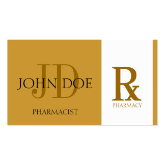 Pharmacist/Prescription Pharmacy Yellow Gold Double-Sided Standard Business Cards (Pack Of 100)