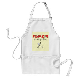 Pharmacist Runs With Precriptions Gifts Adult Apron