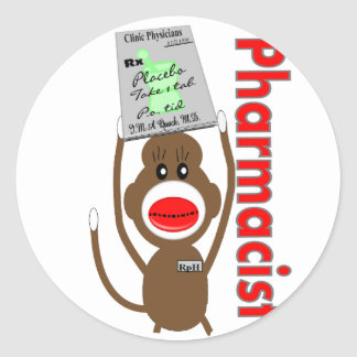 Pharmacist Sock Monkey Design---Adorable Gifts Classic Round Sticker