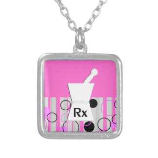 Pharmacist Sterling Necklace Retro Style Pink