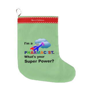 Pharmacist Superhero Large Christmas Stocking