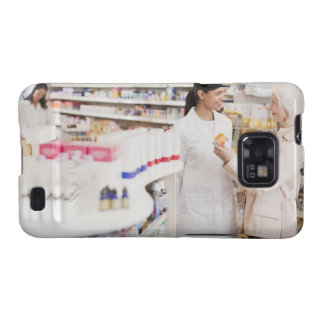 Pharmacist talking to customer in drug store samsung galaxy SII case