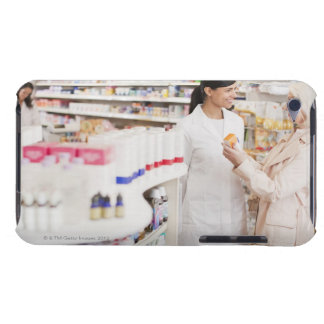 Pharmacist talking to customer in drug store iPod touch case