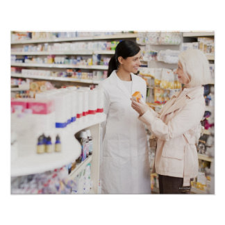 Pharmacist talking to customer in drug store poster