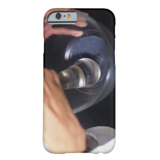 Pharmacist using mortar and pestle on table, barely there iPhone 6 case