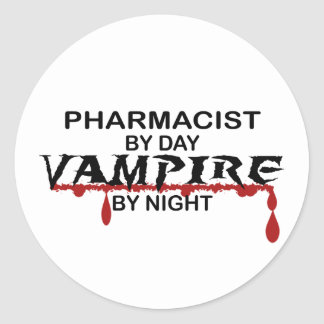 Pharmacist Vampire by Night Classic Round Sticker