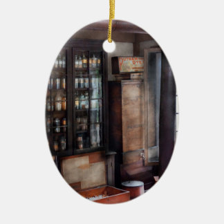 Pharmacist - Visiting the Apothecary  Double-Sided Oval Ceramic Christmas Ornament