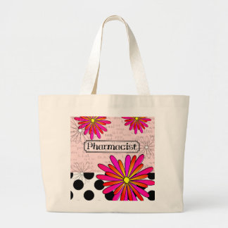 Pharmacist Whimsical Flowers Large Tote Bag
