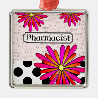 Pharmacist Whimsical Flowers Metal Ornament