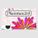 Pharmacist Whimsical Flowers Rectangle Sticker