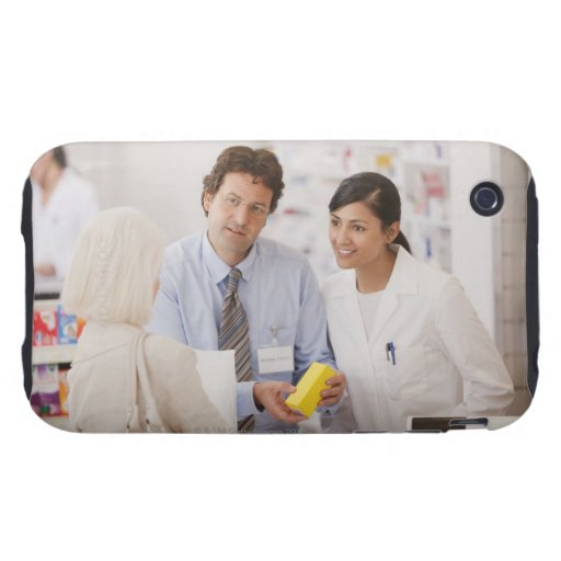 Pharmacists answering questions for customer in iPhone 3 tough case