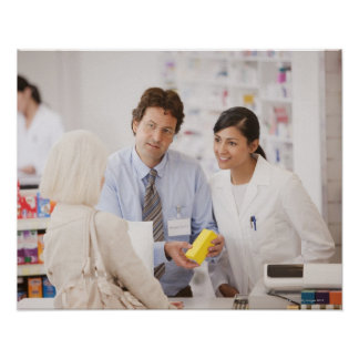 Pharmacists answering questions for customer in poster