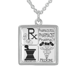 Pharmacists  Pharmacy LOGO Sterling Silver Necklace