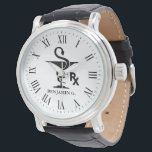 """Pharmacology Custom Name Bowl of Hygenia Symbol Wrist Watch<br><div class=""""desc"""">A custom name pharmacist watch featuring the bowl of Hygenia and RX symbol. The watch also features a optional Roman numeral typeface.</div>"""