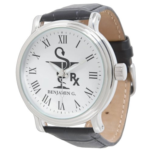 Pharmacology Custom Name Bowl of Hygenia Symbol Wrist Watch