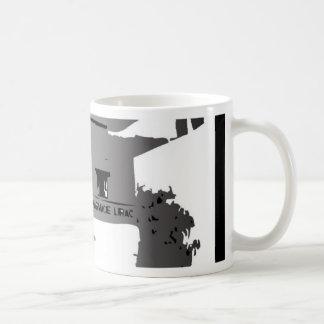 PHARMACY ABROAD BLACK AND WHITE ILLUSTRATION COFFEE MUG