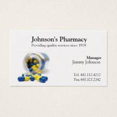 Pharmacy Business Card Pharmacist at Zazzle